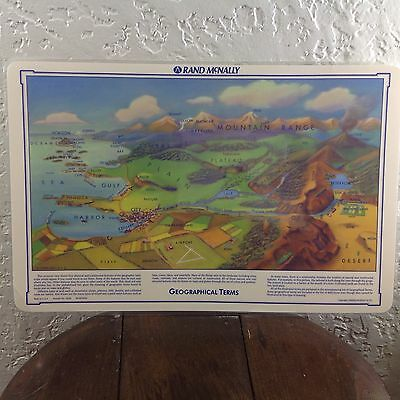 Vintage map geographical terms Rand McNally Table Placemat