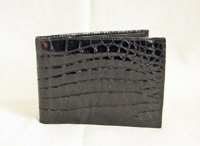 Authentic Vintage 1970s SULKA Mens Wallet Black Crocodile Billfold Made in Italy