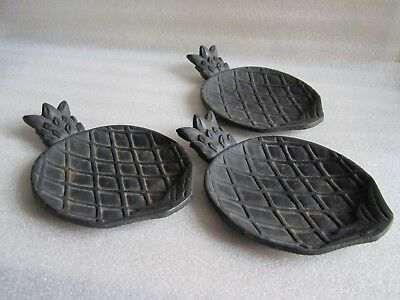 RARE Antique Victorian Cast Iron Pineapple Shape Serving Dish Set of 3