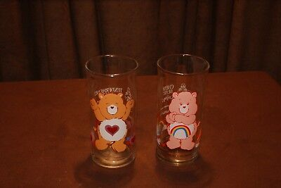 Vintage Set of 2 1983 Pizza Hut Care Bear Glasses TENDERHEART and CHEER