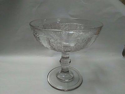 L5 Vintage 40s Large Pressed Glass Fruit/Centerpiece Compote ~ Beautiful Pattern