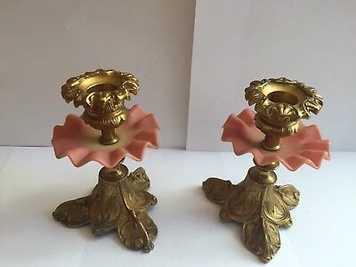 Vintage Glass Brass Thomas Webb and Sons Queens Burmese Candle Stick Holders
