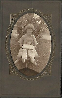 DARLING vintage antique trifold photo girl with composition mama doll 1920s