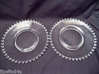 """Vtg Candlewick Clear IMPERIAL GLASS Beaded Set(s) 2 Salad Lunch Plates 8 1/4"""""""
