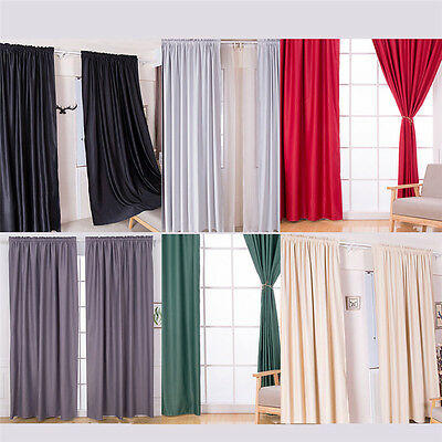 1PC Blackout Thermal Solid Window Curtain Living Room Bedroom Drape Home Decor