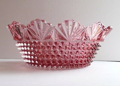 """Vintage Cranberry Pink Pointed Hobnail & Fan 10 1/4"""" Glass Bowl Imperial Doyle"""