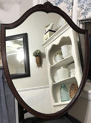 Antique Wood Carved Shield Shape Wall Mirror Ornate Heavy Mounted Vintage Vanity