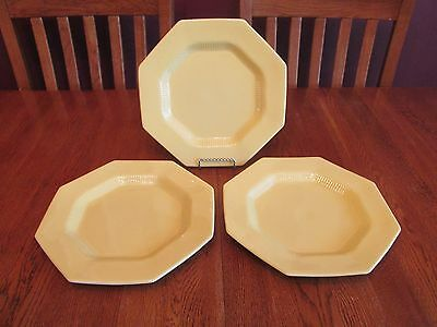 3 Independence Ironstone Daffodil All Yellow Octagon Dinner Plates Ribbed Detail