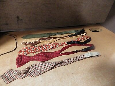 Abstract Art Deco Mid-Century Vintage Bow Tie Lot Of 5 Silk Brummell Soie France