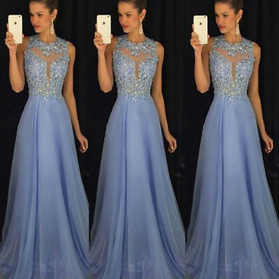 Women's Long Formal Wedding Evening Ball Gown Party Prom Bridesmaid Dress UK