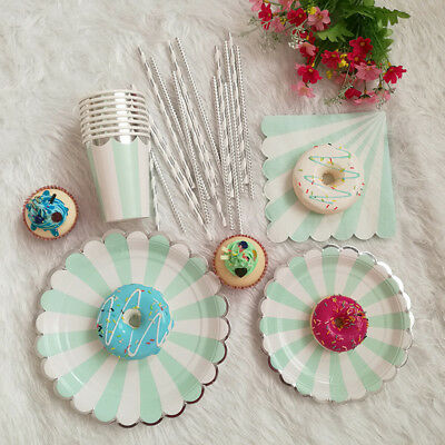 Birthday Gold Chevron Party Tableware Disposable Paper Plate Cup Wedding Supreme