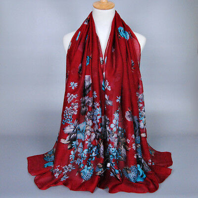 Women Ladies Long Soft Voile Scarf Wrap Large Flower Winter Shawl Stole Scarves