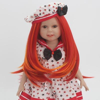 Fashion Red Straight Long Hair Wig for 18inch American Girl Dolls DIY Making