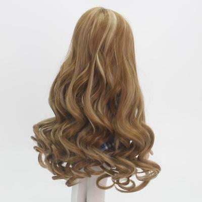 "Fashion Brown Wavy Curly Hair Making Wig for 18"" American Girl Dolls Repair"