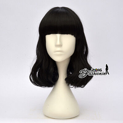 40CM Anime Lolita Black Party Girl Wavy Bang Hair Cosplay Wig Heat Resistant