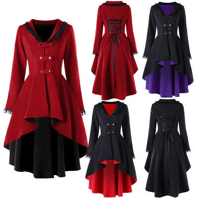 Lace Trimmed Gothic Women Back Lace Up Coat Red Cosplay Steampunk Witch Jackets