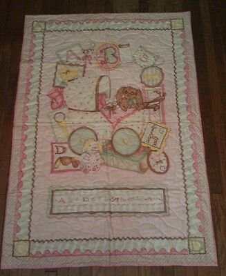 Pink quilt baby carriage crib size Infant Cute Adorable Loveable 29 x 43 Nursery