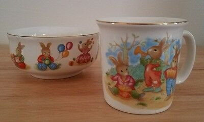 Mount Clemens Pottery Japan Rabbits Balloons Toys Baby Childs Bowl & Cup