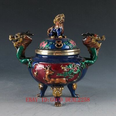 Chinese Cloisonne Hand Carved Unicorn & Dragon Incense Burner W Xuande Mark