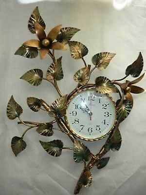 Big wall clock LILY wrought iron GOLD