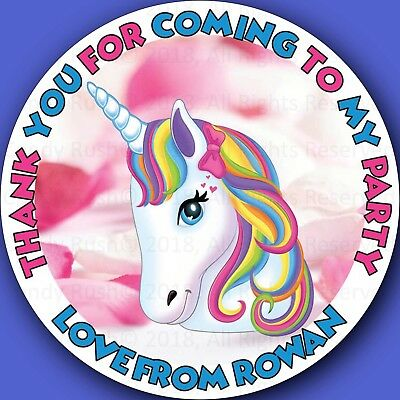 Personalised Unicorn Birthday Stickers Party Thank You For My Bag Labels Seals