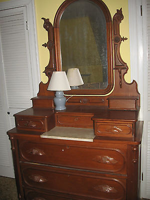 Victorian Eastlake 1800's Antique Dresser or Chest with Mirror