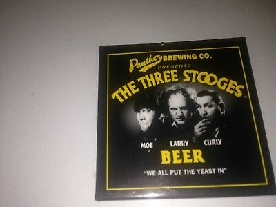 Three STOOGES beer RARE PINS Panther Brewing ADVERTISING PROMO NOS VINTAGE WOW