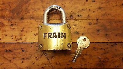 Vintage Heavy Brass Fraim Padlock Steel Hasp and Working  Key