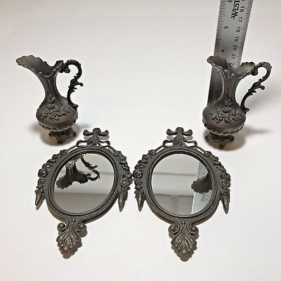 Antique Victorian Ornate Bronze Small Wall Mirrors and Pitchers Set Aged Patina