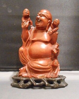 Vintage Hand Carved Wood Buddha With Custom Fitted Wood Base