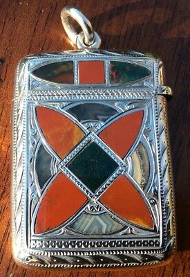 A Rare Silver Vesta Agate Case Made In Birmingham By Clark & Sewell Dated 1908