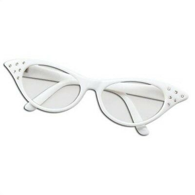 (White Glasses) - Womens Girls 50s Rock Roll Retro Grease Poodle Scarf Glasses