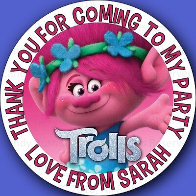 Personalised Trolls Birthday Stickers Party Thank You For My Bag Labels Seals