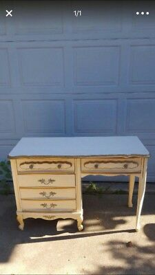 Vintage French Provincial Ivory w Gold Trim Writing Desk