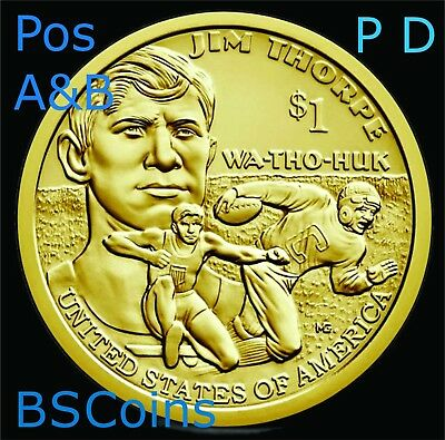 2018 P&D NATIVE AMERICAN Sacagawea Jim Thorpe Dollar -Pos A&B 4 Coins Ship TODAY