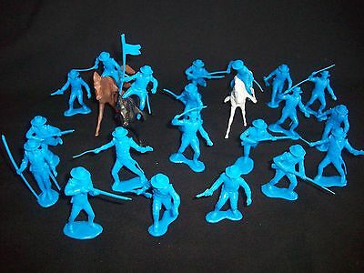 Marx reissue set of 20 Alamo Mexican soldiers presidio type in BLUE w/ horses