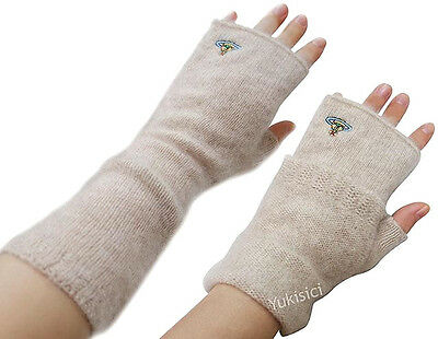 Vivienne Westwood Japan Two Way Beige Long Gloves 100% Cashmere Fingerless w/Orb