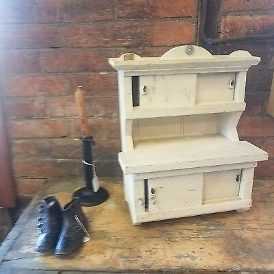 Vtg Hand-Made Primitive Child's WOODEN KITCHEN CUPBOARD Painted Farmhouse Find