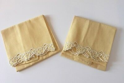 Vintage Pair of Mustard Yellow Muslin Pillowcase w/White Embroidered Floral Edge