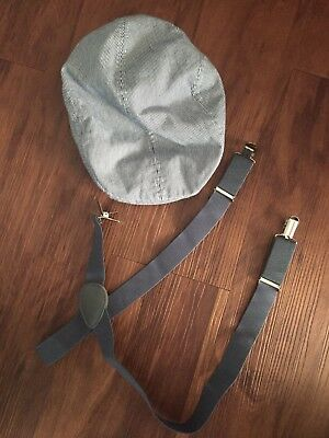 Boys Small 4-6 Paper Boy Hat And Suspenders Set Photo Shoot Adorable