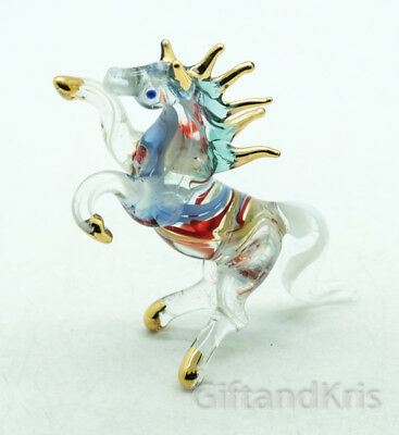 Figurine Hand Blown Glass Horse No Painted w/ Painted Gold Trim - 012