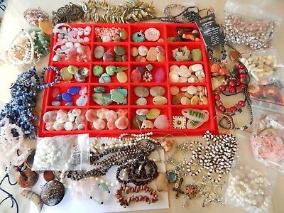 Vintage Pearl Agate Stone Quartz Turquoise MOP Bead Jewelry Making Lot