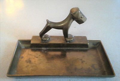 Vintage Antique Art Deco Brass Dog Card Pin Tray Dish Scottie Westie Terrier