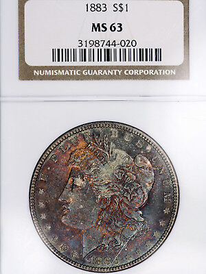 1883-P MS63 Morgan Silver Dollar $1, NGC Graded, Deeply Toned Beauty