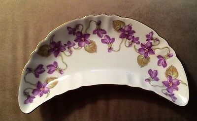 "Vintage Mitterteich Bavaria Crescent Dish 6-1/2"" Long Purple Floral Germany 4269"