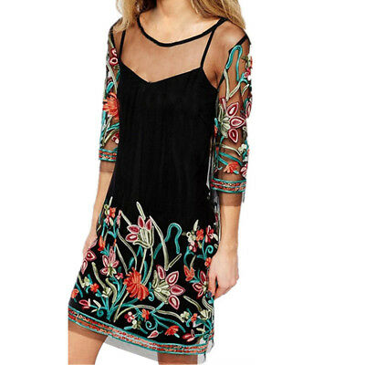 Women Boho Lace Mesh Sheer Embroidered Floral Tops Casual Party Beach Mini Dress