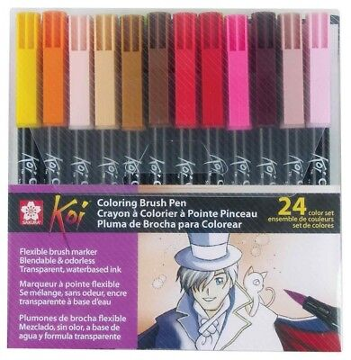 Sakura XBR-24SA 24-Piece Koi Assorted Colouring Brush Pen Set. Shipping is Free