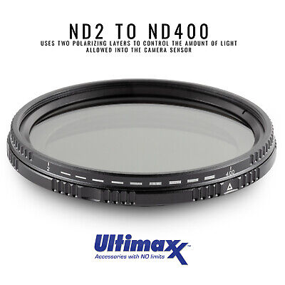 46mm Variable Neutral Density Filter ND2-ND400 by ULTIMAXX - Brand New