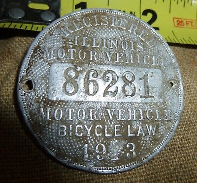 Antique 1913  Illinois Motor Vehicle  Bicycle Motorcycle Tag Plate