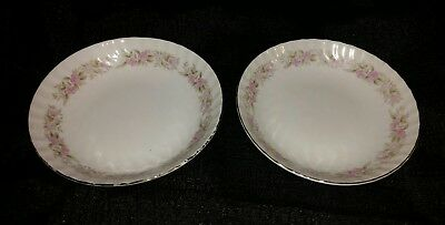 Set of 2 Dansico Teahouse Rose w/Platinum trim Fine China Fruit/Dessert bowl